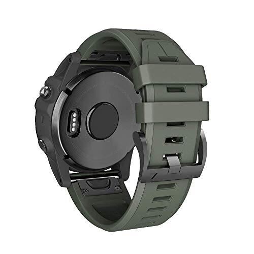 ANBEST 22mm Silikon Armband für Fenix 5 Armbänder/Fenix 5 Plus/Fenix 6/Fenix 6 Pro Uhrenarmband, Schnellspanner Silikon Ersatzarmband Kompatibel mit Forerunner 935/945 Smart Watch(Armee Grün)