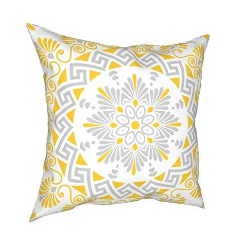 Uliykon Fundas de cojín decorativas de mandala, de color amarillo y gris, para sofá, dormitorio, coche, con cremallera invisible, 45,7 x 45,7 cm