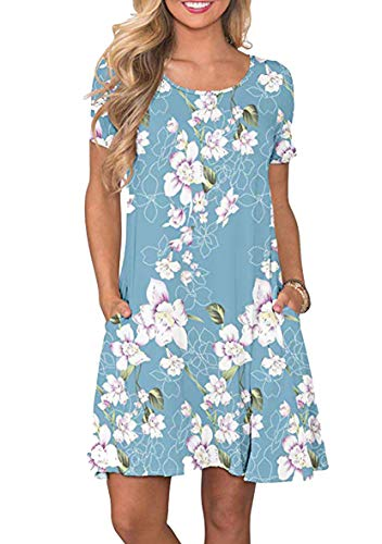 YMING Frauen Mini Kleid Casual Kleider mit Taschen Kurzarm Lose Minikleid Hellblau Lilie XS
