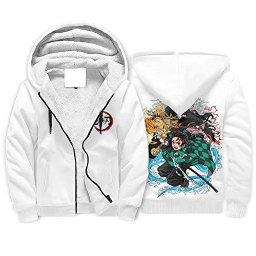 Shinelly Anime Kimetsu No Yaiba - Sudadera con capucha para hombre con estampado de forro polar, divertida sudadera con bolsillos Blanco2 S