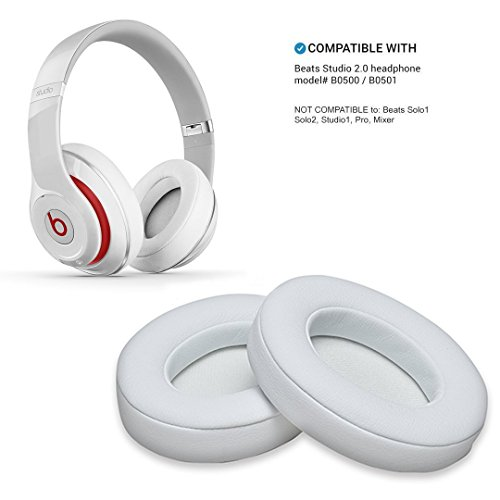 White Replacement Earpads, WADEO 2 Pieces Foam Ear Pad Cushion for Beats Studio 2.0 Wired/Wireless B0500 B0501 Headphone & Beats Studio 3.0