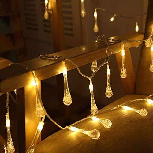 Ff Led-Lichterketten Uping Water Drops Solar-Lichterketten | 30 Led-Lichterketten Aus 8 Modi | Wasserdicht Für Drinnen, Draußen, Party , Garten, Weihnachten, Halloween, Urlaub , Hochzeitsdekoration |