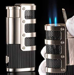 Product Image 1: Mantello Catador Triple Jet Flame Butane Lighter – Cigarette Torch Lighter with Tobacco Cigar Punch Cutter – Premium Smoking Accessories & Gifts – Refillable Tank, Adjustable Gas Knob, Windproof Fire