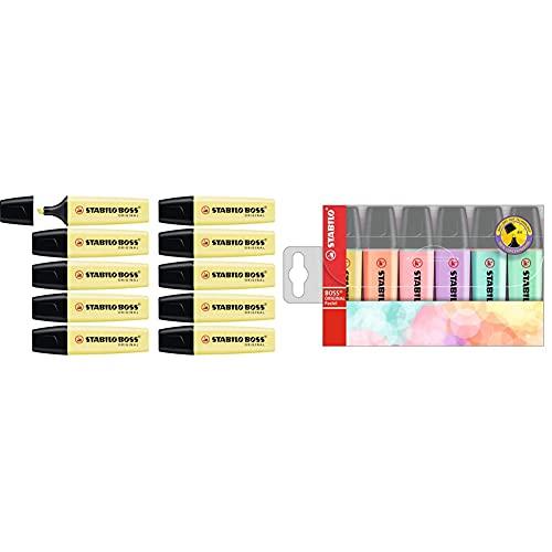 STABILO Marcador ORIGINAL pastel Caja con 10 unidades Color amarillo cremoso + Marcador ORIGINAL pastel Estuche con 6 colores