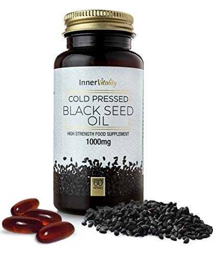 Black Seed Oil Capsules Double Strength 1000mg - Premium Cold Pressed Virgin Oil, High Strength Supplement by Inner Vitality - 60 Softgels 1-2 Month Supply