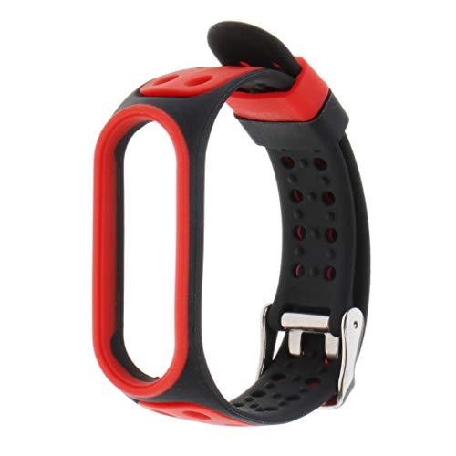 Flameer Moda pulseira de relógio pulseira de silicone para xiaomi mi banda 5 - Preto + Vermelho