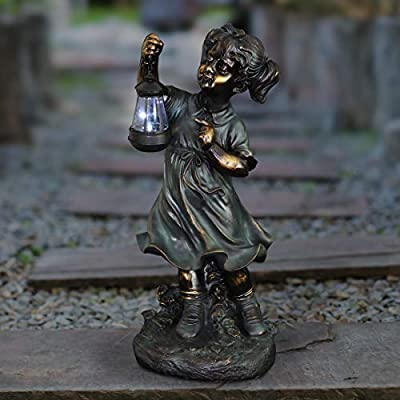 Exhart Solar Garden Girl Statue | Patina Finish Garden Statuary Girl Statue | Faux Bronze Statue w/Solar Garden Lights | Garden Art | Resin Statue | Outdoor Decorations | (24.5 in)