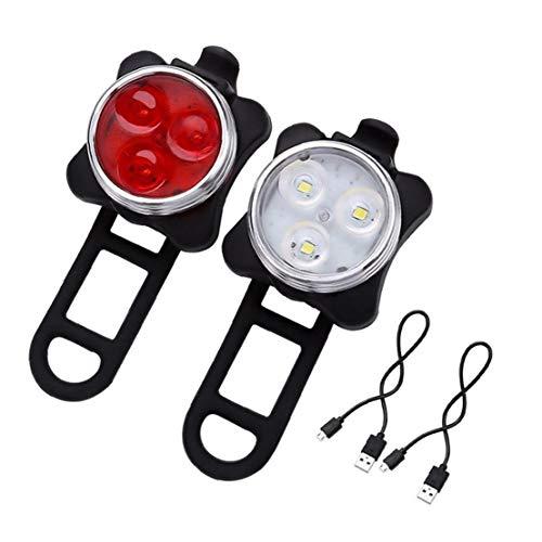 USB Aufladbare Fahrrad-licht-Sets Super Helle Scheinwerfer Vorn Und Hinten Led-Fahrrad-licht 650mah Lithium-Batterie 4 Licht-Modus-Optionen (2 USB-Kabel Und 4 Bügel Eingeschlossen)