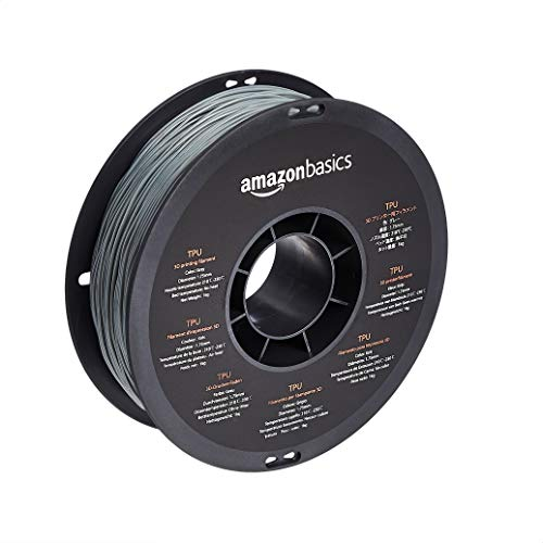 Amazon Basics TPU 3D Printer Filament, 1.75 mm, Grey, 1 kg Spool (2.2 lbs)