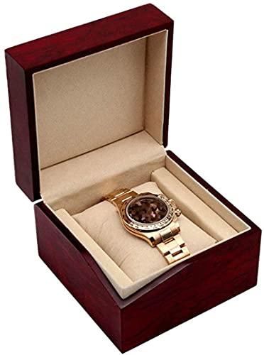 Caja de relojes de relojera / reloj de joyería de un solo reloj, elegante vino rojo, boda, cumpleaños, día de San Valentín Best regalo 12 × 12 × 8,6cm