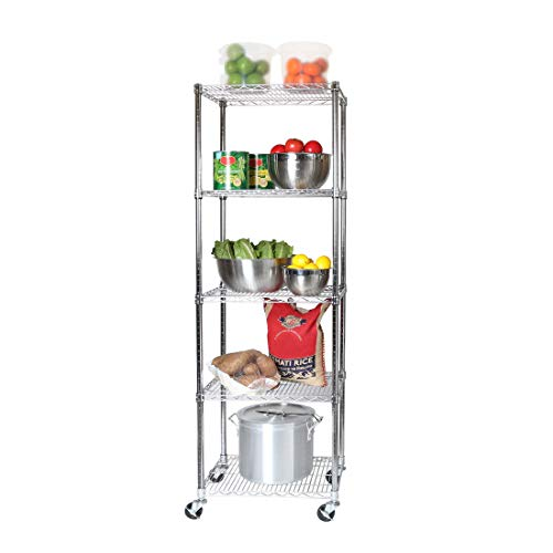 """Seville Classics UltraDurable Commercial-Grade 5-Tier NSF-Certified Steel Wire Shelving with Wheels, 24"""" W x 18"""" D - Chrome"""
