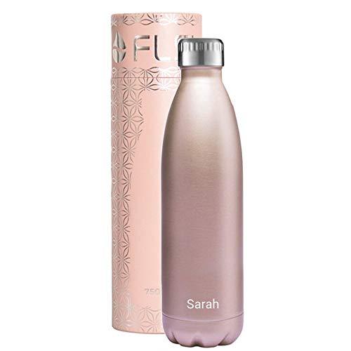 FLSK Isolierflasche MIT Gravur (z.B. Namen) 500ml Roségold - Trinkflasche hält 18 Stunden heiß und 24 Stunden kalt - 100% Dicht - Kohlensäurefest