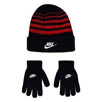 Nike Boy`s Beanie & Gloves 2 Piece Set  Black 9A2909-R1N /University Red 8-20