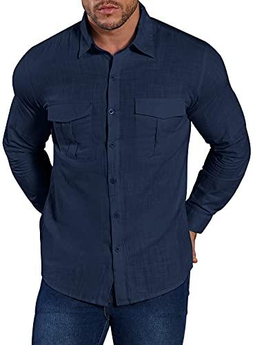 Herren Hemd Langarm Baumwolle Leinenhemd Freizeithemd Shirt Regular Fit Langarmshirt Bluse (Navy Blau, M)