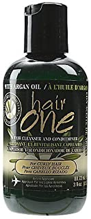 Hair One Argan Oil Hair Cleanser Conditioner For Curly Hair 3 oz. (Pack of 2)