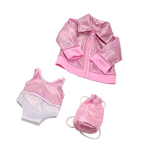 Gazechimp 3pcs / Set Puppen Bekleidung Für 18'' American Girl Puppe - Bling Bling Badeanzug + Mantel mit Reißverschluss + Rucksack - Pink