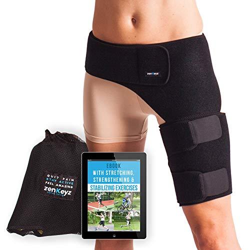 Groin Support and Hip Brace for Men & Women- Compression Wrap for Thigh Quad Hamstring Joints Sciatica Nerve Pain Relief Zenkeyz Leg Strap