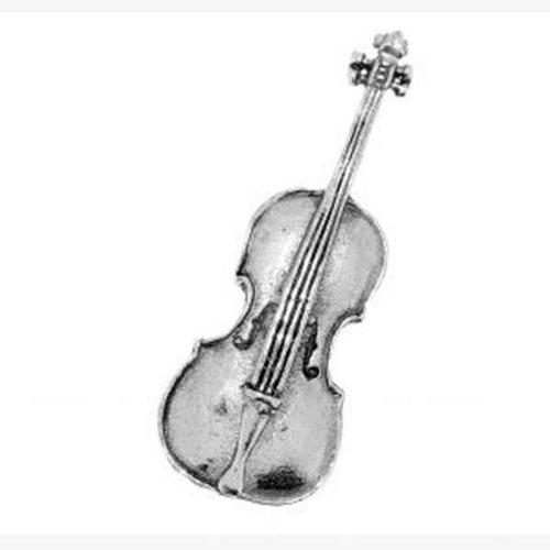 Brosche aus Zinn mit Cello-Motiv, für Schals, Krawatten, Mäntel und Taschen