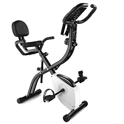 Cyclette da Casa Pieghevole Avanzata,Cyclette da Casa Pieghevole con 10 Livelli di Resistenza, Monitor LCD con sensore di frequenza cardiaca Bike Cyclette Fitness con Schienale per Esercizi (Stile 2)