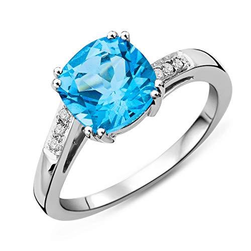 Miore Anello di fidanzamento da donna in oro bianco 9 carati (375) con diamanti da 0,06 ct e oro bianco a 9 carati, 54 (17.2), cod. M9133R4