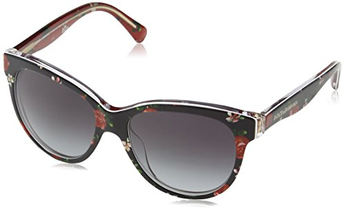 Dolce & Gabbana Matt Silk Gafas de sol, Rose/Flowers On Black, 49...