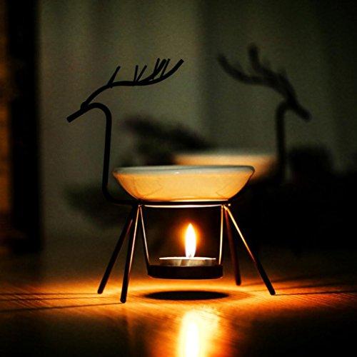 Aroma Burner, Sacow Stainless Steel Deer Oil Furnace Incense Burner Tea light Candle Holder Scented with Oil Warmer (Black)