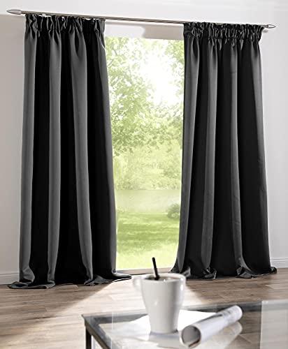 Blickdichter Vorhang Brilliant mit Kräuselband in Grau mit Verdunkelungseffekt   300 x 245cm