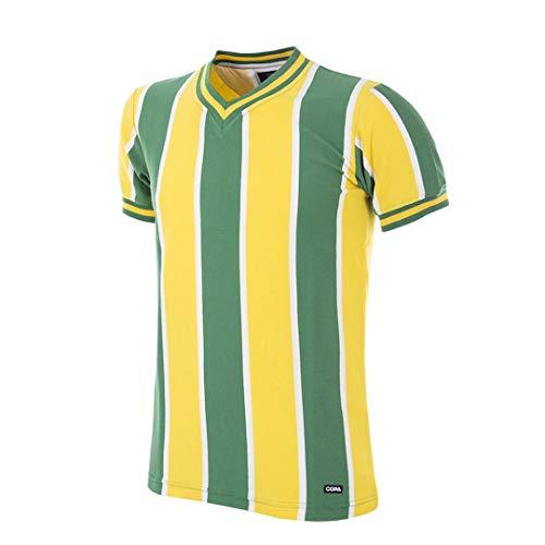 Copa Camiseta de fútbol Retro del FC Nantes 1965-66 para Hombre, Hombre, Camiseta Retro de fútbol con Cuello en V, 174, Amarillo y Verde, XL