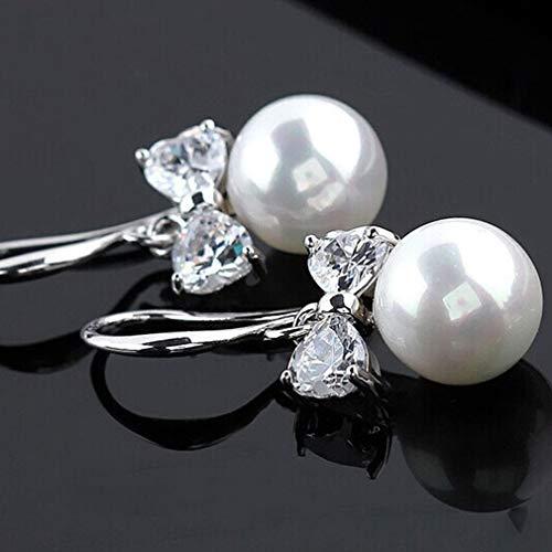 Yeliu Bowknot Zirkon Imitation Pearl Drop Ohrringe Damen Ohrringe Schön für Frauen Silber