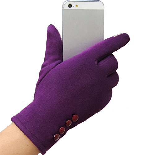Allywit Womens Winter Gloves Touch Screen Full Gloves Soft Thick Warm Windproof Driving Mittens (Purple)