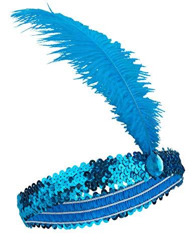 WELLY INTERNATIONAL Bandeau Charleston à Sequins et Plume Bleu Femme