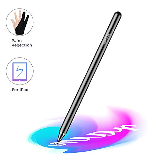 JOYROOM Stylus Pen for iPad, Capacitive Pencil for Kid Student Drawing, Writing, High Sensitivity, with Artist Glove(Palm Rejection), for Touch Screen Devices Tablet, Smartphone (Black)