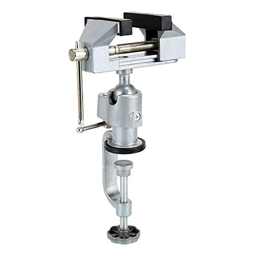 HEWEGO Bench Vise,360° Rotate Universal Table Vise for Woodworking,Craft,Metal Work and so on (silver)