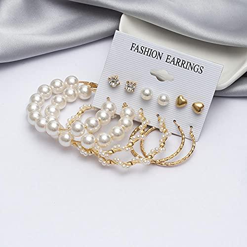 XCWXM Moda Pendientes de aro de Perla Conjunto Damas de Metal Dorado Pendientes Redondos de Cristal de Moda Regalos de joyería Femenina-Set 231