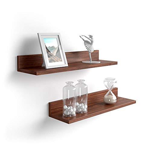 Mobili Fiver, Par de estantes, Modelo Rachele, de MDF, 60 cm, Color Nogal Americano, Aglomerado y Melamina, Made in Italy