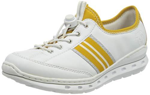 Rieker Damen L22Y2 Sneaker, Weiss/Honig/gelb 80, 42 EU