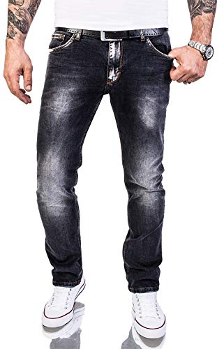 Rock Creek Herren Jeans Hose Regular Slim Stretch Jeans Herrenjeans Herrenhose Denim Stonewashed Basic Stretchhose Raw RC-2143 Schwarz W33 L30
