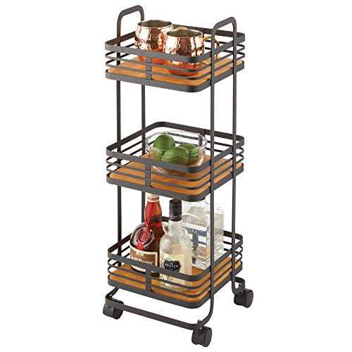 mDesign 3-Tier Storage Trolley — Portable Storage Unit with Basket Shelves and Caster Wheels — Rolling Freestanding Shelves for Household Items — Matte Black