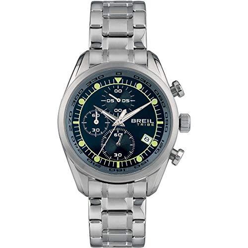 BREIL Heren Spoiler Horloge Collectie Mono-Kleur Blauwe wijzerplaat Chrono Quartz Beweging en Staal Staal Armband EW0478