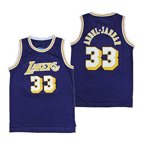 ZeYuKeJi Los Hombres de Jersey-NBA Lakers Lakers # 33 Abdul-Jabbar Malla Jersey Bordado Retro conmemorativo del Baloncesto Camiseta sin Mangas (Color : Blue, Size : L)