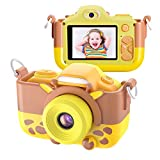 Kriogor Kinder Kamera, Digital Fotokamera Selfie und Videokamera mit 12 Megapixel/ Dual Lens/ 2 Inch Bildschirm/ 1080P HD/ 256M TF Karte, Geburtstagsgeschenk für Kinder (Gelb)