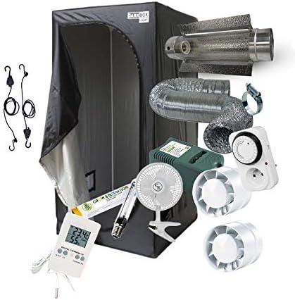 Pack Chambre de culture Complet 9x9x9 / 9x9x9 / 9x9x9cm -  9W 9W 9W au choix! Kit complet avec eclairage HPS Cooltube, Timer,