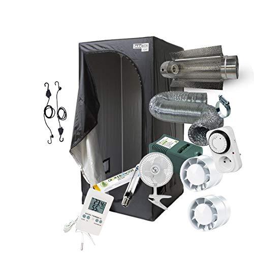 Pack Chambre de culture Complet 80x80x160 / 100x100x200 / 120x120x200cm - 250W 400W 600W au choix! Kit complet avec eclairage HPS Cooltube, Timer, Extracteur et Ventilateur. (120x120x200cm - 600W)