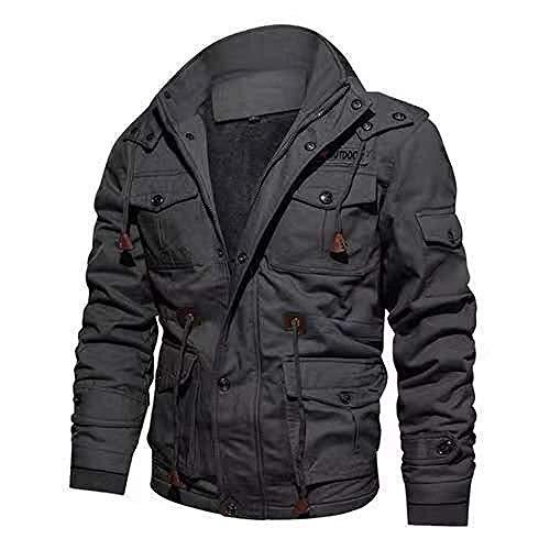 HANGYIKJ Männer Baumwolle Herbst und Winter Kapuze Größe dicken Mantel Männer