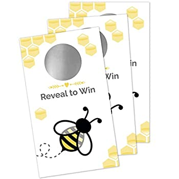 Honey Bee Scratch Off Game - Bumble Bee Baby Shower Birthday Party Activity - 28 Lottery Ticket Raffle Cards