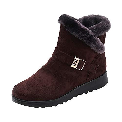 Yowablo Damen Stiefeletten Schlupfstiefel Wintermode-Stiefeletten und warme, Flache Samt-Schneestiefel (41 EU,Kaffee)