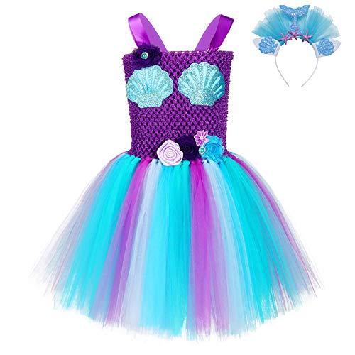FONLAM Vestido Disfraz de Sirena Niña Bebé Vestido Tutú Princesa Bautizo Fiesta Niña Carnaval Halloween (5-6 Años, Púrpura y Azul)