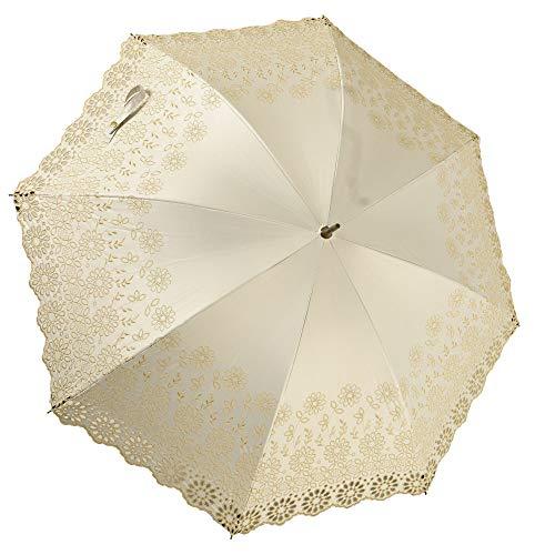 Malagavaria (マラガバリア) レース 日傘 長傘 レディース UVカット 99%以上 遮光 遮熱 防水 8本骨 刺繍 花柄 木製 持ち手 アラビックレース 白 ホワイト
