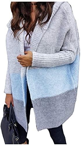 Mujeres empalme parche acogedor de longitud media con capucha Knit gan Sweater