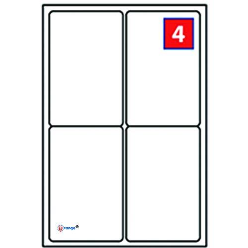 EJRange 4 Etiketten pro A4-Blatt, 400 Blatt 200 Etiketten insgesamt, selbstklebende Adressversand-Druckeretiketten - Kompatibel mit Tintenstrahl- und Laserdruckern